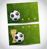 Football cards with champion cup Royalty Free Stock Photos