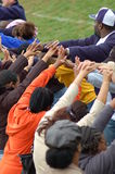 Football Celebration. Depicts the celebration by parents after a children's football game royalty free stock images