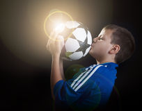 Football champion with flare Royalty Free Stock Photos