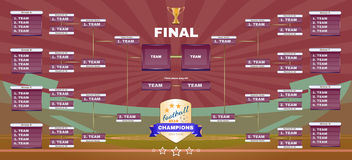 Football Champions Final Spreadsheet. Soccer Champions Final Scoreboard Template on Dark Backdrop. Sports Tournament Chart for Groups and Teams. Soccer Playfield Stock Image