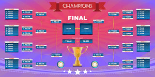 Football Champions Final Spreadsheet. Soccer Champions Final Scoreboard Template on Dark Backdrop. Sports Tournament Chart for Groups and Teams. Soccer Playfield Royalty Free Stock Images