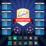Football Champions Groups and Teams. Football 2015 Champions. Flyer Soccer Groups and Teams Statistics Tables. Sports Icons in Rectangular Frames. Digital Vector Stock Image