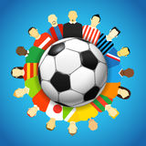 Football Championship. National teams football players around the soccer ball Royalty Free Stock Photo