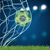 Football championship banner. Flag of Brazil. Vector illustration of abstract soccer ball with Brazilian national flag. Colors for your design EPS 10 Stock Images