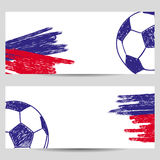 Football championship banners with sketch soccer ball. Royalty Free Stock Photography
