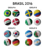 Football Championship 2016 in Brasil. Football/soccer balls. Set of 3d soccer balls with flags Stock Images