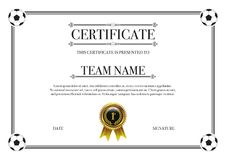 Football championship competition certificate with gold badge Stock Image