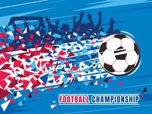 Football championship concept vector illustration. Flying soccer ball with trace and fans. Royalty Free Stock Photos