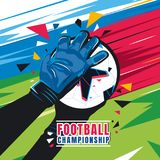 Football championship. Concept vector illustration. Football championship. Goalkeeper hands with gloves catch the ball on abstract color background. Concept Stock Image