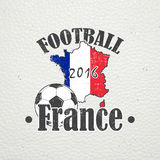 Football Championship of France. Soccer time. Detailed elements. Old retro vintage grunge. Scratched, damaged, dirty Royalty Free Stock Images