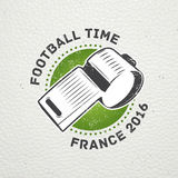 Football Championship of France. Soccer time. Detailed elements. Old retro vintage grunge. Scratched, damaged, dirty Stock Photo