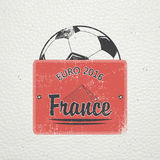 Football Championship of France. Soccer time. Detailed elements. Old retro vintage grunge. Scratched, damaged, dirty Stock Image