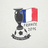 Football Championship of France. Soccer time. Detailed elements. Old retro vintage grunge. Scratched, damaged, dirty Stock Photos
