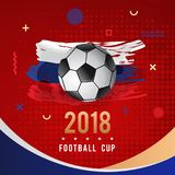 Football Championship 2018 with Ball & Russia Flag. Football Championship 2018 Geometric Abstract Design with Ball & Brushed Russia Flag Royalty Free Stock Image