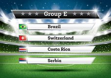 Football Championship Group E. Soccer World Tournament. Draw Res. Football Championship Group E. Vector Illustration. Soccer World Tournament. Draw Result Stock Images