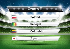 Football Championship Group H. Soccer World Tournament. Draw Res. Football Championship Group H. Vector Illustration. Soccer World Tournament. Draw Result royalty free illustration