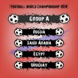 Football championship 2018 group A. Soccer tournament 2018. Football championship group A. Vector illustration Stock Image