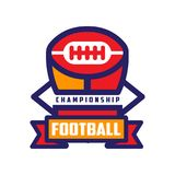 Football championship logo template, American football colorful emblem, sport team insignia vector Illustration on a. Football championship logo template Royalty Free Stock Photos