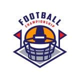 Football championship logo template, American football emblem, , sport team insignia vector Illustration on a white. Football championship logo template Stock Photos