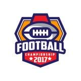 Football championship 2017 logo template, American football emblem, sport team insignia vector Illustration on a white. Football championship 2017 logo template Royalty Free Stock Photo