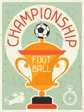 Football Championship. Retro poster in flat design Royalty Free Stock Photo