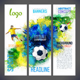 Football championship 2016. Sports banners. With Soccer player and ball football against the background with watercolors. Isolate on white. Logo sport 2016 Stock Images