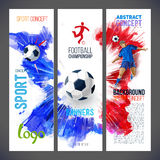 Football championship. Sports banners with Soccer player and ball football Stock Photography