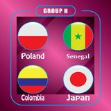 Football. Championship. Vector flags. Russia. Group H. World Championship. Vector flags of the country. 2018 in Russia. World Cup. Information graph of country Stock Photo