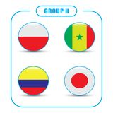 Football. Championship. Vector flags. Russia. Group H. World Championship. Vector flags of the country. 2018 in Russia. World Cup. Information graph of country Royalty Free Stock Photos