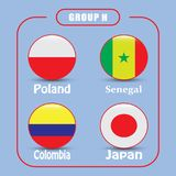Football. Championship. Vector flags. Russia. Group H. World Championship. Vector flags of the country. 2018 in Russia. World Cup. Information graph of country Royalty Free Stock Image