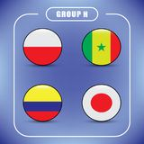 Football. Championship. Vector flags. Russia. Group H. World Championship. Vector flags of the country. 2018 in Russia. World Cup. Information graph of country Royalty Free Stock Photo