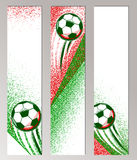 Football championship vertical banner with ball, field and italian flag colors. Roughness texture. Soccer poster, card Stock Images