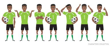 Footballer character constructor. black african american soccer player different postures, emotions set. Football character. Soccer player different postures Stock Photo