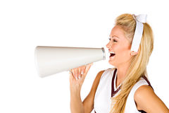 Football: Cheerleader Yelling Through Megaphone. Series with an American football cheerleader and a male fan, isolated on white Stock Photo