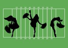 Football Cheerleaders 1. Illustration of cheerleaders on football field background Stock Photography