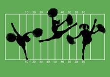 Football Cheerleaders 2. Illustration of cheerleaders on football field background Stock Image