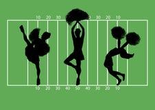 Football Cheerleaders 3. Illustration of cheerleaders on football field background Stock Photos