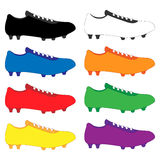 Football Cleats in Different Colours Stock Photo