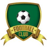 Football Club logo design in green background with gold frame and ribbon royalty free stock images