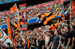Football club Shakhtar fans Royalty Free Stock Photography