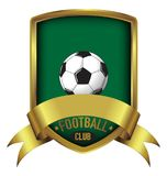 Football Club Shield logo with green background with gold frame & ribbon. Space ready for your Club name Stock Photography