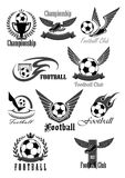 Football club vector icons for soccer championship. Football or soccer icons for sport club or championship game award. Vector symbols of fire ball with wings Stock Photos