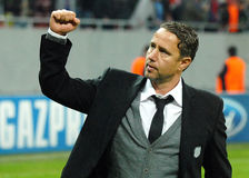 Football coach Laurentiu Reghecampf salutes fans after Champions League game Stock Image