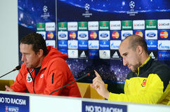 Football coach and player during UEFA Cheampions League press conference Stock Image