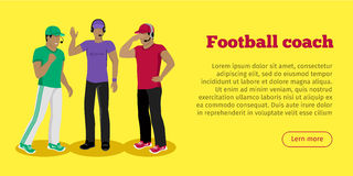 Football Coaches Web Banner Cartoon Soccer Referee Stock Images