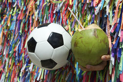 Football and Coconut Salvador Bahia Brazil Royalty Free Stock Photography