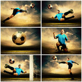 Football Collage. Collage of football images on the outdoor field Royalty Free Stock Photo