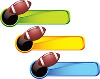 Football on colored tabs Stock Photos