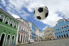 Football at Colorful Colonial Architecture Pelourinho Salvador Brazil Stock Photos