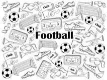 Football colorless set vector illustration Royalty Free Stock Photo